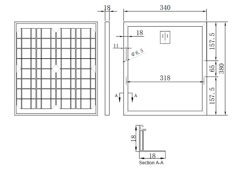 19W-20W-18V small solar panel assembly size chart
