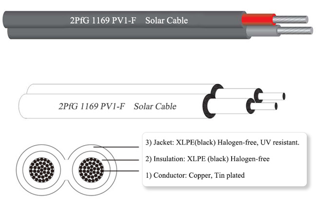 2PfG 1169 PV1-F photovoltaic cable, double core cable